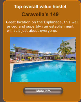 Top overall value hostel Caravella's 149      Great location on the Esplanade, this well priced and superbly run establishment will suit just about everyone.  More info